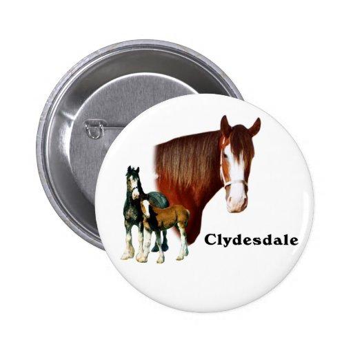 Clydesdale design pinback button