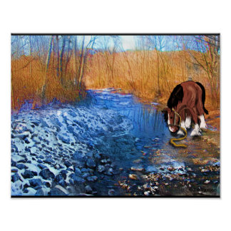 Clydesdale Draft Horse at Stream Artwork Poster