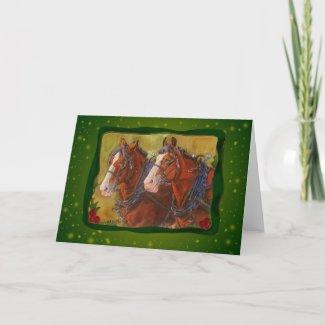 custom Clydesdale Draft Horse Team holiday card
