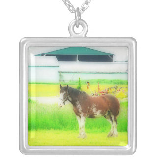 Clydesdale Draft Horse Square Pendant Necklace