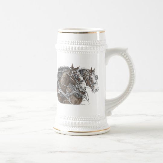 Clydesdale Draft Horse Team Beer Stein
