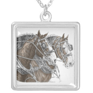 Clydesdale Draft Horse Team Personalized Necklace