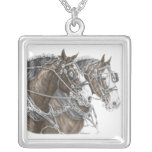 Clydesdale Draft Horse Team Square Pendant Necklace