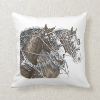 Clydesdale Draft Horse Team Throw Pillow