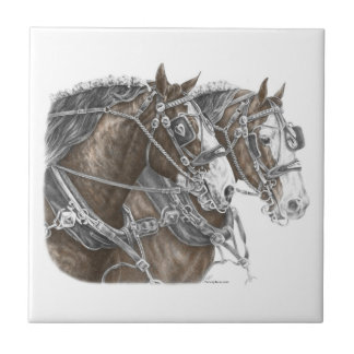 Clydesdale Draft Horse Team Tile