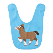 Clydesdale Horse Cartoon Baby Bib