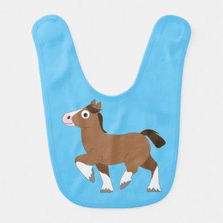 Clydesdale Horse Cartoon Baby Bib