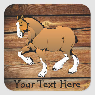 Clydesdale Horse Rustic Wood Sticker