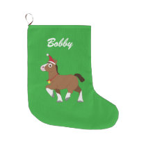 Clydesdale Horse Santa Hat Name Customizable Large Christmas Stocking