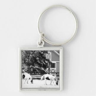Clydesdale Horses Grazing (Black and White) Keyrin Keychain