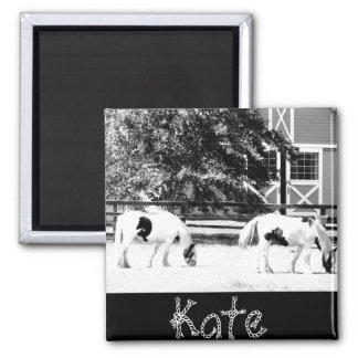Clydesdale Horses Grazing (Black and White) Magnet