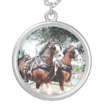 Clydesdale Horses Silver Plated Necklace