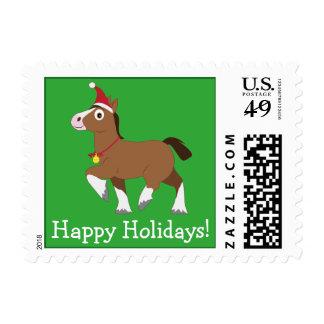 Clydesdale in Santa Hat Postage Stamp