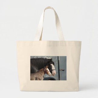 clydesdale mare and filly tote bag