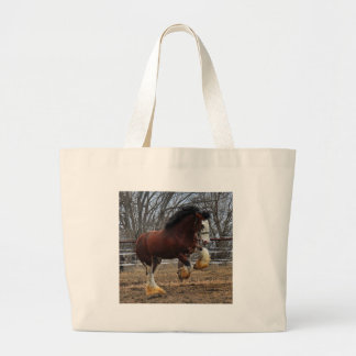 Clydesdale stud colt running tote bags