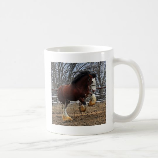 Clydesdale stud colt running coffee mug