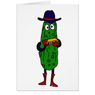 CM- Funny Pickle Playing Harmonica Cartoon Greeting Card