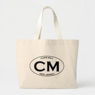 Cm - Logotipo del óvalo de Cape May New Jersey Bolsa Tela Grande