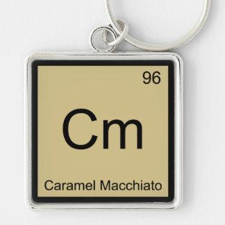 Cm - Símbolo T del elemento de la química de Macch Llavero Cuadrado Plateado