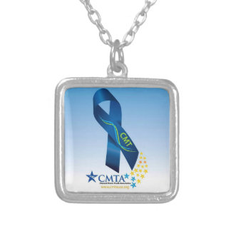 CMT Ribbon Small Silver Plated Square Necklace