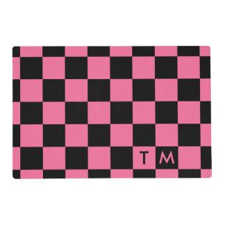 CMXR rosado/negro del monograma del tablero de Salvamanteles