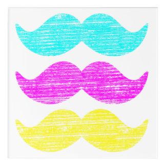 CMY Mustaches (letterpress style) Acrylic Wall Art
