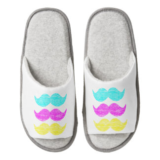 CMY Mustaches (letterpress style) Pair Of Open Toe Slippers