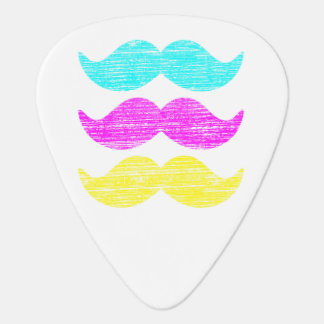 CMY Mustaches (letterpress style) Guitar Pick