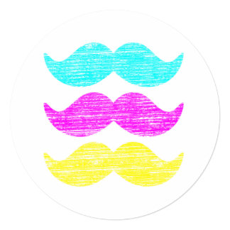 CMY Mustaches (letterpress style) 5.25x5.25 Square Paper Invitation Card