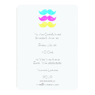 CMY Mustaches (letterpress style) 5x7 Paper Invitation Card