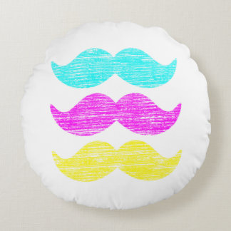 CMY Mustaches (letterpress style) Round Pillow