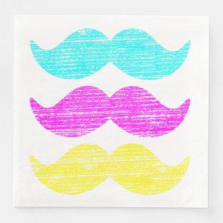 CMY Mustaches (letterpress style) Paper Dinner Napkin