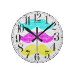 CMY Mustaches (letterpress style) Round Clocks