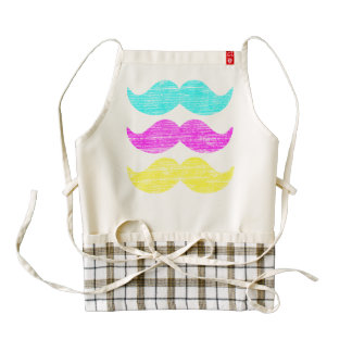 CMY Mustaches (letterpress style) Zazzle HEART Apron