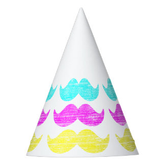 CMY Mustaches Party Hat