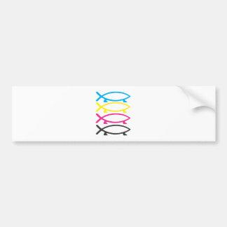 cmyk darwin fishes car bumper sticker