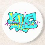 CMYK graffit LOVE word design Drink Coasters