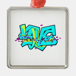 CMYK graffit LOVE word design Christmas Ornaments