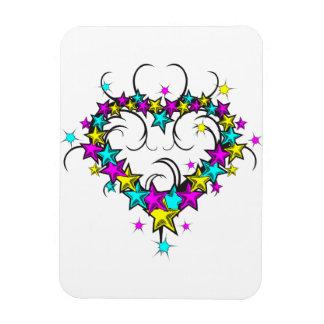 CMYK heart of stars tattoo style graphic Rectangular Magnet