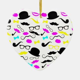 CMYK hipster mustache pattern Christmas Tree Ornaments