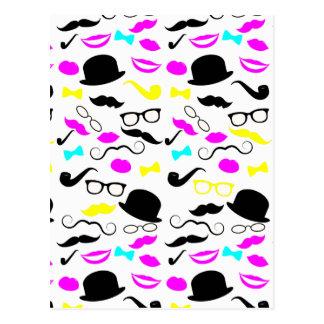 CMYK hipster mustache pattern Postcard