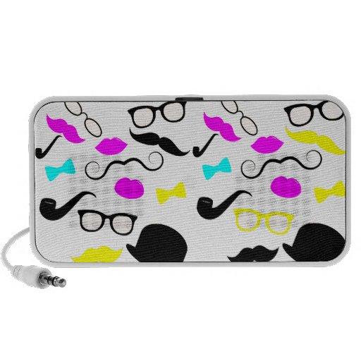 CMYK hipster mustache pattern Notebook Speaker
