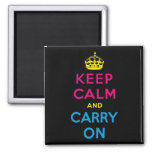 CMYK keep calm and carry on 2 Inch Square Magnet