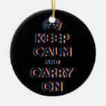 CMYK keep calm and carry on Christmas Ornaments