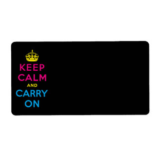 CMYK keep calm and carry on Label