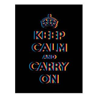 CMYK keep calm and carry on Postcard