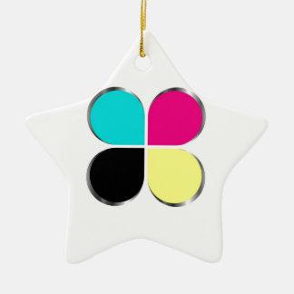 CMYK leaf graphic Christmas Ornament