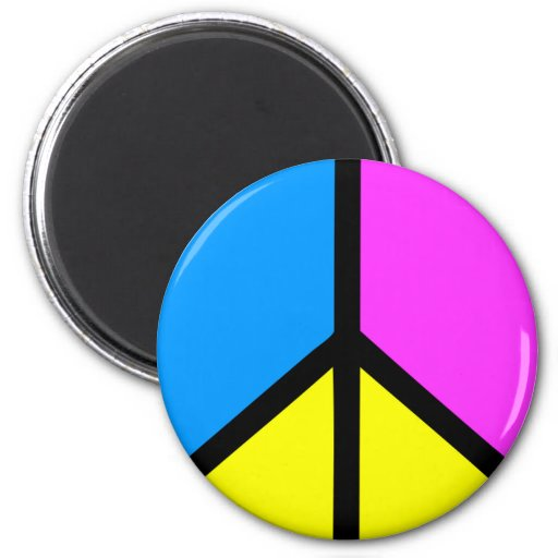 CMYK Peace Sign 2 Inch Round Magnet