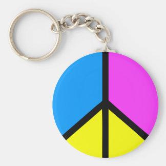 CMYK Peace Sign Basic Round Button Keychain