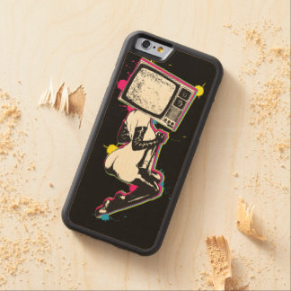Cmyk pin-up carved maple iPhone 6 bumper case